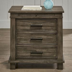 A-AmericaGlacier Point  Three Drawer Nightstand w/Power
