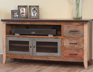 "Artisan Ifd62"" TV Stand w/3Drawers and 2 Iron Mesh Doors"