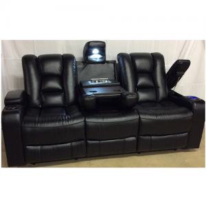 CheersPower Reclining Sofa w/Headrest & Table & Lights