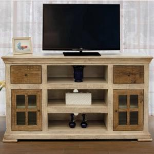 Artisan IfdVintage White Two Drawer Two Door Entertainment Center