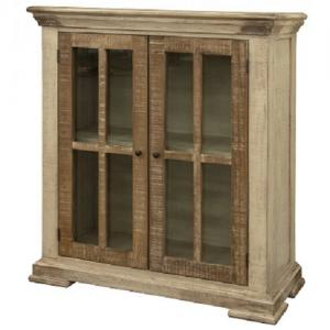 Artisan IfdVintage White Two Glass Door Console
