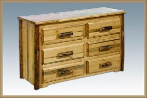 Montana WoodworksLog 6 Drawer Dresser Deluxe Gildes